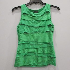 Vince Camuto Green Tank Ruffles Petite Small